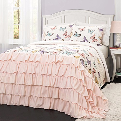 Pink and White with Butterflies Polyester, 2-piece Twin Queen Quilt (Butterfly Quilt)
