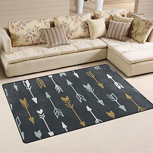 WellLee Area Rug,Geometric Tribal Arrow Floor Rug Non-slip Doormat for Living Dining Dorm Room Bedroom Decor 60x39 Inch