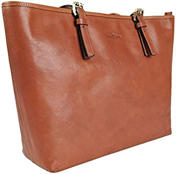 24f863241b Gianni Conti Italian Fine Leather Large Tan Shoulder Tote Shopper Bag 913180   Amazon.co.uk  Luggage