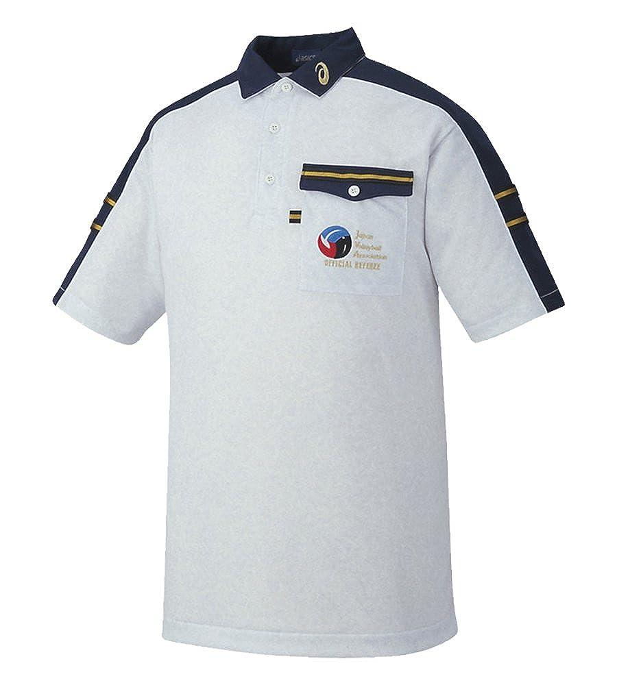 [アシックス] バレーボールウエア 半袖レフリーシャツ XW6314 [メンズ] 杢ホワイト/ネイビー M