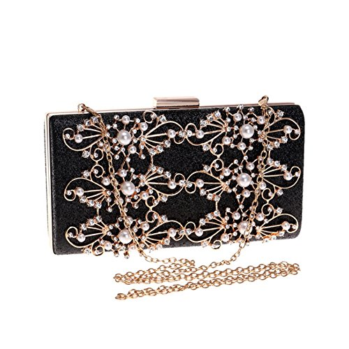 - Ladies' diamond dinner bag, Detachable One shoulder Diagonal European and american banquet clutches For weddings Years Party-black 22x11x4cm(9x4x2inch)