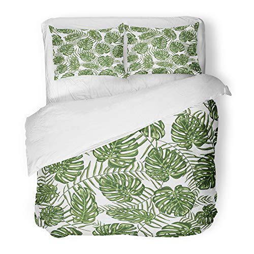 Emvency Bedding Duvet Cover Set Full/Queen Size (1 Duvet Cover + 2 Pillowcase) Green Palm Tropical Leaf Beach Botanical Exotic Floral Foliage Hawaii Jungle Hotel Quality Wrinkle by Emvency