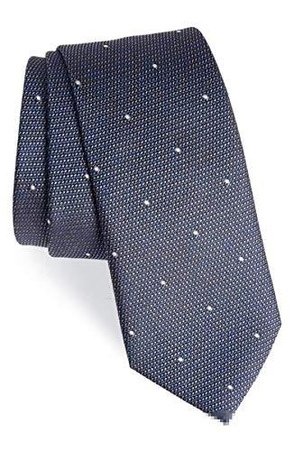 - New Authentic Burberry London Manston M Dot Steel Blue Silk Tie