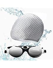 Funní Día Zwemmen Goggles, Geen Lekkende Anti-Fog UV Bescherming Crystal Clear Vision Triatlon zwemmen Goggles voor Volwassen Mannen Vrouwen Jeugd Tieners met Zwemmen Caps