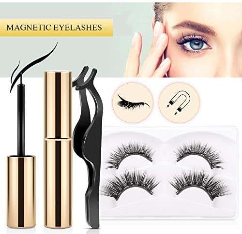 Magnetic Eyelashes with Eyeliner,No glue 3D Reusable False Eyes Lashes Kit with Ultra Thin Magnet, Light weight & Easy to Wear, Natural Fake Lashes, Waterproof Eyelashes, 4PCS with Tweezer