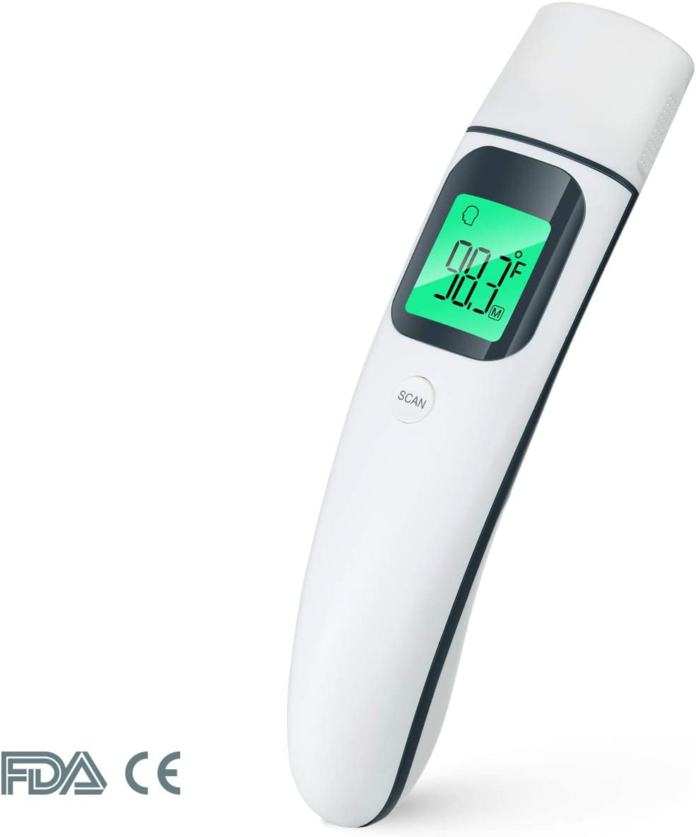 Digital Baby Thermometer for Fever, Instant Read, Infrared Medical Ear Forehead, Prymax FC-IR101 FDA Approved. Temporal. for Kids, Infant, Adults, at Home. LCD Display, 35 Readings, 2 AAA Batteries.
