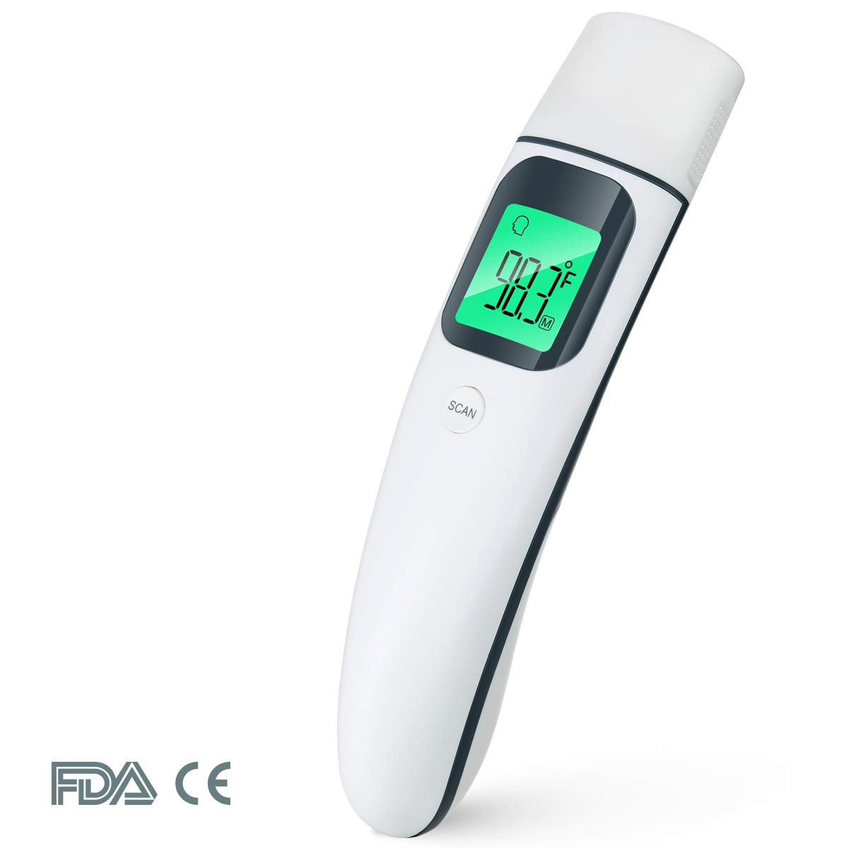 Digital Baby Thermometer for Fever, Instant Read, Infrared Medical Ear&Forehead, Prymax FC-IR101 FDA Approved. Temporal. for Kids, Infant, Adults, at Home. LCD Display, 35 Readings, 2 AAA Batteries.