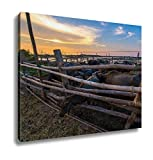 Ashley Canvas, Thailand Buffalo In Corral At Sunset, Home Decoration Office, Ready to Hang, 20x25, AG6344842