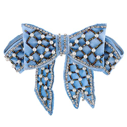 (Fashion Fabric Corsage Clothing Bowknot Broch Shirt Bow Tie Pins With Luxury Pearl Velvet Brooches blue)