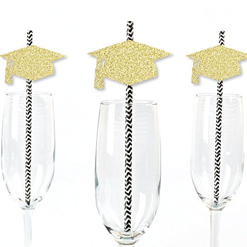 (Gold Glitter Grad Cap Party Straws - No-Mess Real Gold Glitter Cut-Outs & Decorative Graduation Party Paper Straws - Set of 24)