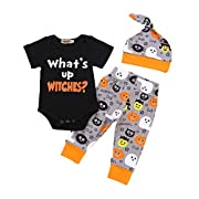 BELS Baby Boys Girls Christmas Halloween Romper My 1st Bodysuit and Pants with Hat Winter Outfit (Black3, 0-6M)