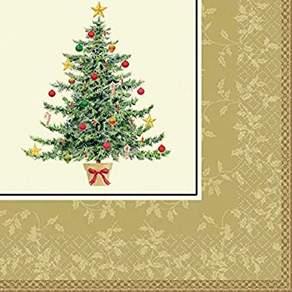amscan classic victorian tree dinner christmas napkins 16 pieces multicolor 78 - Christmas Napkins