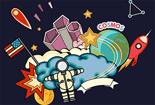 Laeacco Cartoon Cosmos Outer Space Backdorp 5x3ft Vinyl Phot