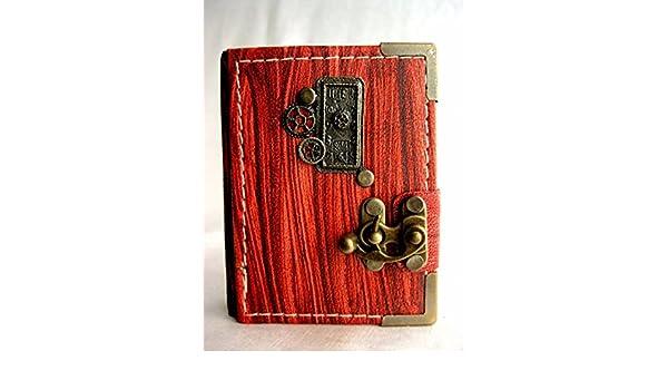 Handmade Victorian Clock pendant extra mini leather journal,leather journal,leather notebook,steampunk,journals with lock,writing journal