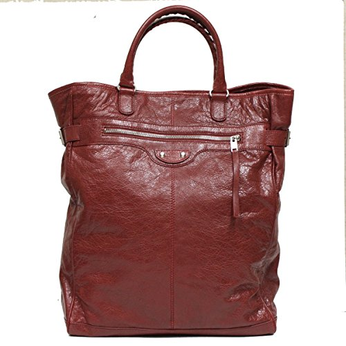 Balenciaga Arena Fettuccia Cerata Motorcycle Travel Duffle Bag Bordeaux Red 409267