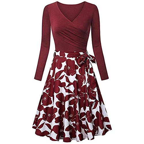 Cute Floral Vintage Style Womens Fit Flare Dresses, Ladies Long Sleeve V- Neck Dresses,