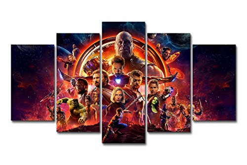 - LMPTART(TM Framed 60x32inch Print 5 Panels Avengers Infinity War Superheroes Movie Poster Marvel Comics Gift for Children Kids Decor Canvas Wall Art Painting Home Decor Wall Art Picture Ready to Hang