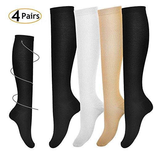 VITTY Compression Socks for Women & Men (4 Pairs), Best Graduated Compression Sock for Running, Medical, Travel, Edema, Varicose Veins, Nurses 15-20 mmHg