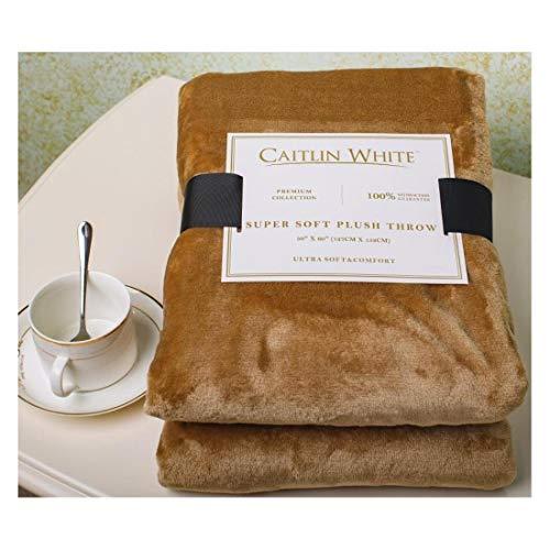 Caitlin White Throw Blanket for Couch/Sofa/Bed, Luxury Super Soft Microplush Velvet, 50