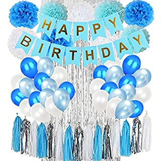 Blue Birthday Decorations & Birthday Party Supplies,Happy Birthday Banners,Pom Poms Flowers,Tissue Paper Tassels,Latex Balloons,Foil Curtain,For Boy Birthday Party Supplies And Baby Birthday Party Decoration