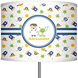 RNK Shops Boy's Space Themed 13'' Drum Lamp Shade Linen (Personalized)