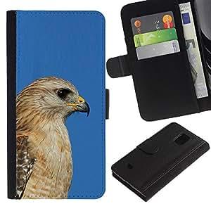 Be Good Phone Accessory // Caso del tirón Billetera de Cuero Titular de la tarjeta Carcasa Funda de Protección para Samsung Galaxy S5 Mini, SM-G800, NOT S5 REGULAR! // blue hawk golden brown beak hunter