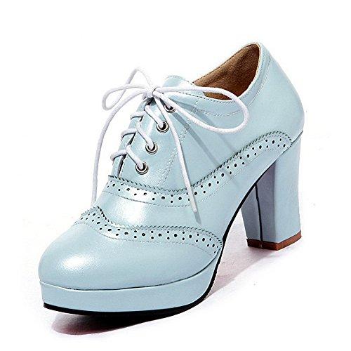 BalaMasa Girls Bandage Lace-Up High-Heels Blue Upper Leather Pumps-Shoes - 4.5 B(M) US