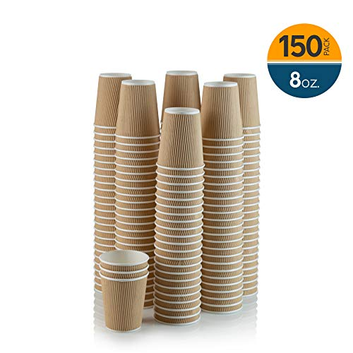 Corrugated Cup (Set of 150 Ripple Insulated Kraft 8-oz Paper Cups – Coffee/Tea Hot Cups | Recyclable |3-Layer Rippled Wall For Better Insulation | Perfect for Cappuccino, Hot Cocoa, or Iced Drinks)