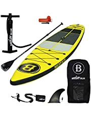 """BRIGHT BLUE Reinforced Double Layer 11'6"""" Inflatable Stand Up Paddle Board (6"""" Thick) with Pump, Paddle,Backpack, Fin,Leash,Dry Pouch"""