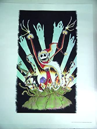 nightmare before christmas lithograph of sandy claws popping out of