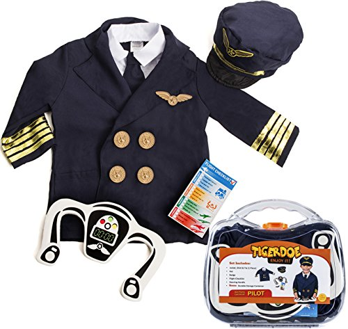 Pilot Costumes For Kids (Pilot Costume for Kids - Pilot Costumes - Kids Dress Up , W/ Storage Case - Pretend Play - Role Play by Tigerdoe)