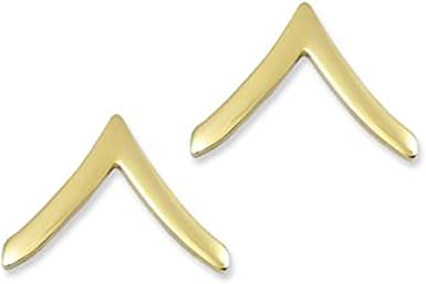 New Pair US Army Brass Collar Rank Insignia Private  E-2