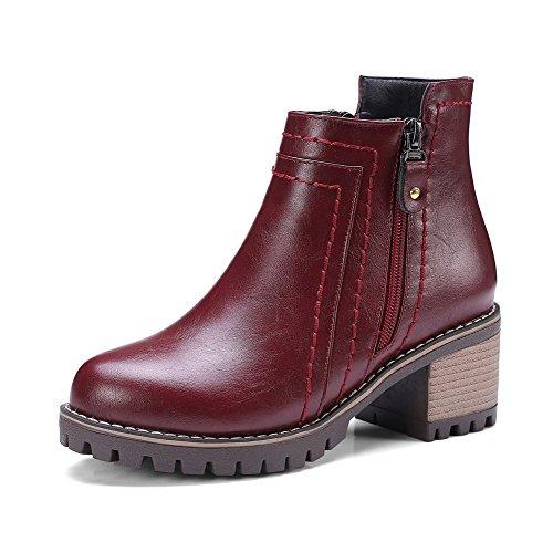AllhqFashion Damen Hoher Absatz Weiches Material Rein Reißverschluss Stiefel, Grau, 32