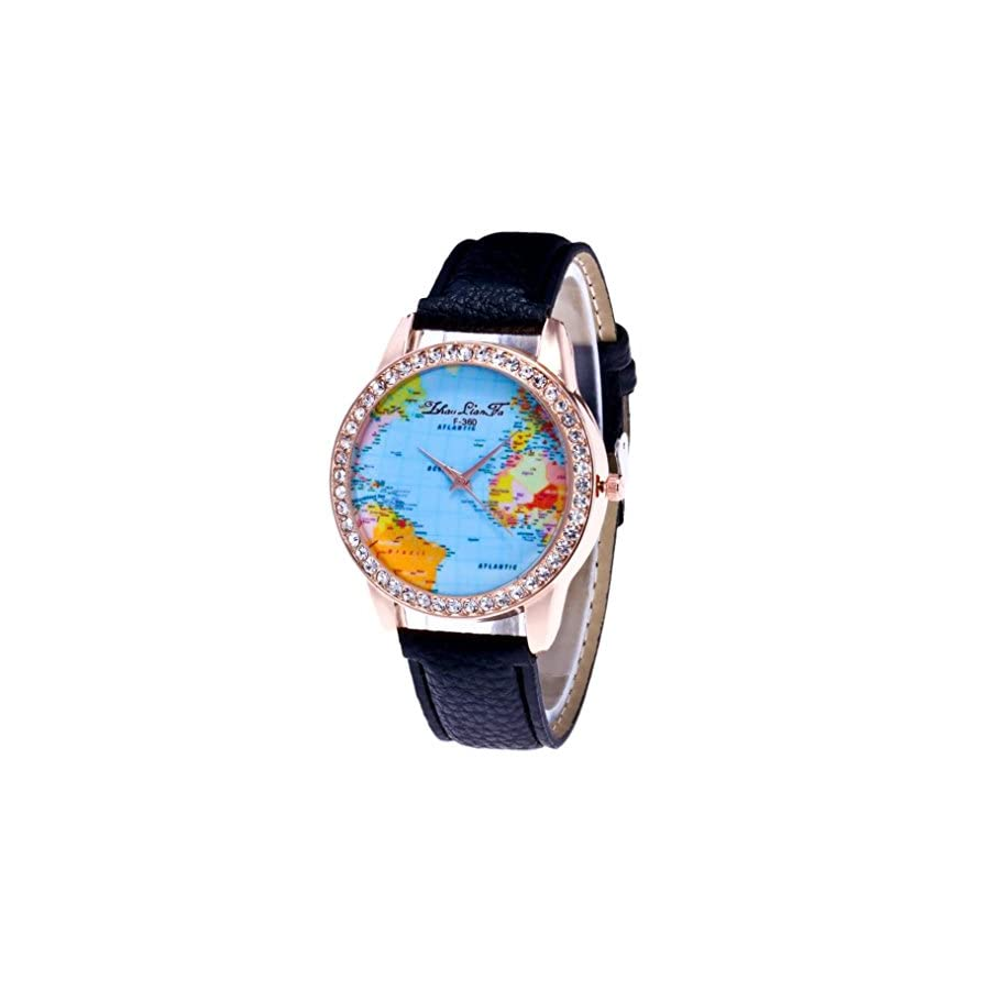 Howstar Women Watch Fashion Round Case Female Watches,Women World Map Quartz PU Leather Analog Wrist Watch