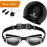 Swimmaxt Swimming Goggles + Swim Cap + Nose Clip + Ear Plugs, Anti Fog UV Protection for Adult Men Women Youth Kids Child (Pro-Black)