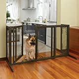 Richell Deluxe Freestanding Mesh Pet Gate Large, Antique Bronze