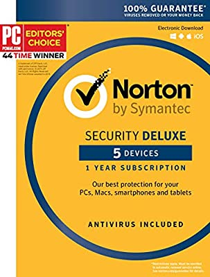 Symantec Norton Security Deluxe - 5 Devices - 1 Year Subscription [PC/Mac/Mobile Key Card]
