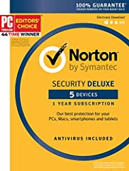 Norton Security Deluxe helps shield your devices against cybercriminals and scammers while you surf, bank, socialize and shop online. When you go online, your devices are susceptible to threats, such as ransomware that holds your files hostag...