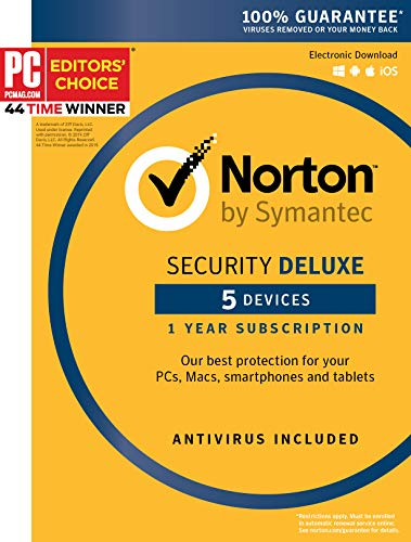 Symantec Norton Security Deluxe - 5 Devices - 1 Year Subscription [PC/Mac/Mobile Key Card] (Best Antivirus App For Mac)