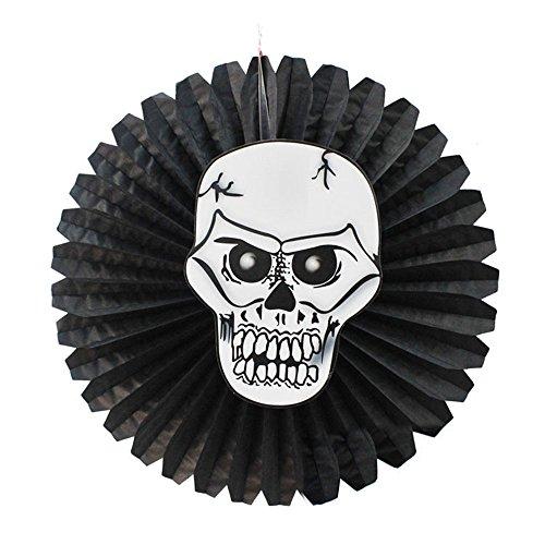 1KTon Black Hanging Paper Pinwheel Flower Fans Background Halloween Party -