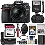 Nikon D7500 Wi-Fi 4K Digital SLR Camera & 16-80mm VR DX Lens with 64GB Card + Battery + Grip + Case + Flash + Tripod + Strap + Filter Kit