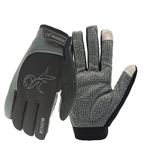 MOREOK Long Finger Winter Cycling Gloves Touch Screen Fleece Gloves With Gel Pading Full Finger for Cold Weather for Outdoor Driving Sporting Climbing Hunting Fishing Hiking (Gray, (Cold Finger)