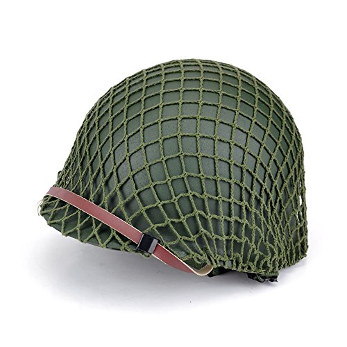 (XHSPORT Repro Men's WW2 US Army M1 Helmet Stainless Steel Army Green with Camouflage Net)