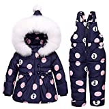 LSERVER Infant Toddler Navy Down Coat Snowsuit Warm Jacket With Snow Ski Bib Pants Jumpsuit 1-3T