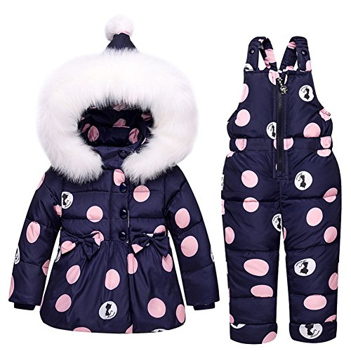 - Baby Girls Snowsuit Toddler Puffer Hooded Jacket + Bib Pants 2 Pieces Set Dark Blue 90