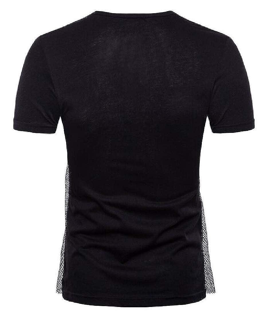 Joe Wenko Mens Pleated Loose Mesh Short Sleeve Cowl Neck Hip Hop Top Tee T-Shirts