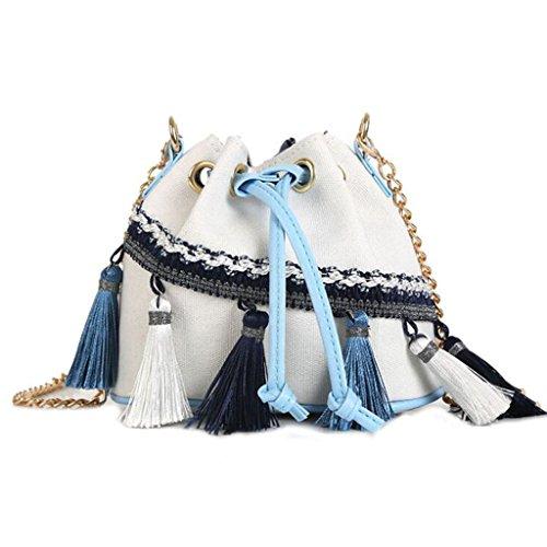 Totalizador Bolso de Hombro Bolsa de Cubo con Borde de Viento Nacional Bolso de Cadena Mini Bolso de Hombro con cordón de Lazo (16.5 * 11 * 14cm) (Color : Black) Blanco