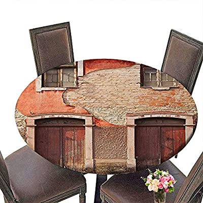 "Cheery-Home RoundTable Cloth (Elastic Edge) Suitable for All Occasions, (29.5"" Round) Rustic Decor Abandoned Facade with Wood Windows and Doors in Portugal Damaged Rust."