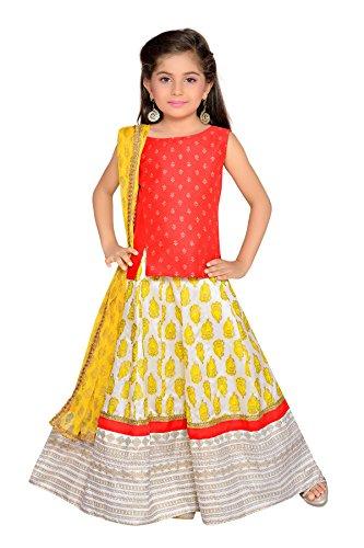 K&U Girls' Red Yellow Offwhite Block Printed Traditional Indian Silk Lehenga Choli