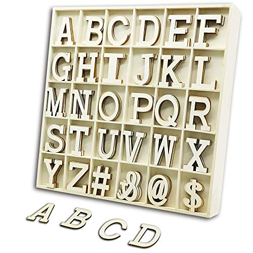 (YuQi 120PCS Wooden Letters,Wooden Craft Letters with Storage Tray Set,Wooden Alphabet Letters for DIY Wedding Birthday Display Home Decor,Kids and Student Learning Toy-Natural Wooden Color-2 inches)